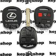 Чехол (силиконовый) авто ключа LEXUS (Лексус) (черный) 2 + 1 кнопки