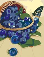 Картина по номерам раскраска Корзинка с черникой Идейка