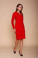 Красное трикотажное приталенное платье с длинным рукавом