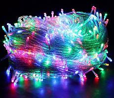 Xmas Нить 100 LED МУЛЬТИК (прозрачный провод, 8.5 метров)