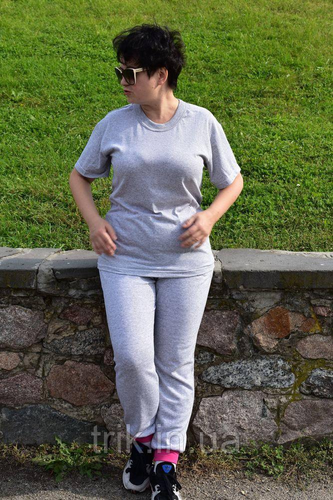 Серые штаны женские с начесом и яркими манжетами