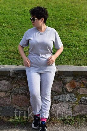 Серые штаны женские с начесом и яркими манжетами, фото 2