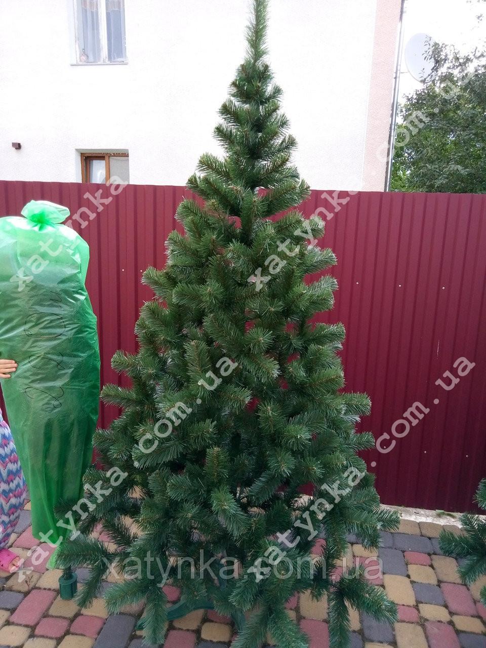 Ёлка зеленая исскуственная на новый год высота 2.2 м