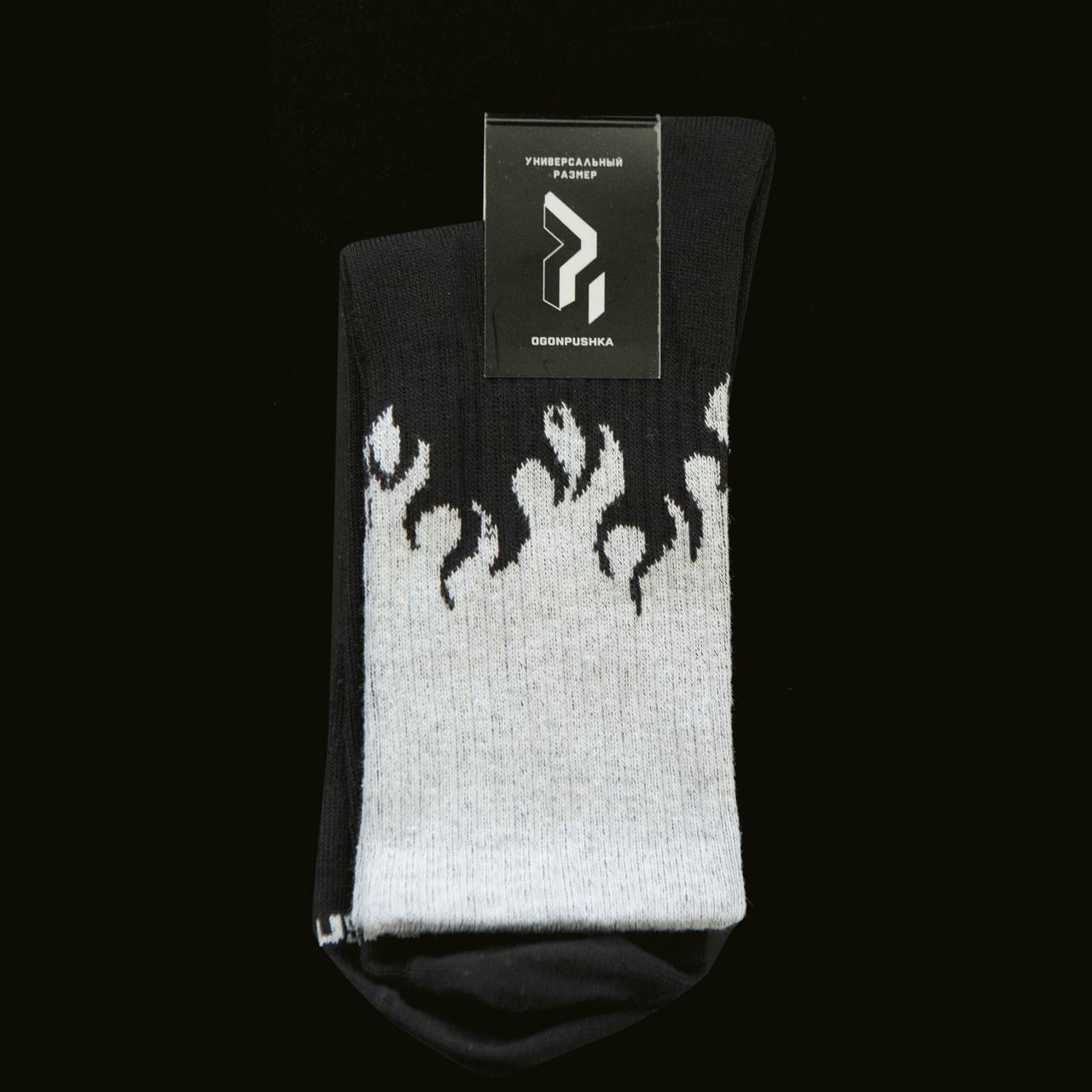 Довгі шкарпетки Пушка Огонь - Round чорно-сірі