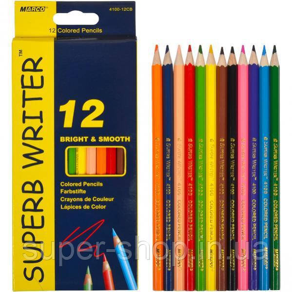 Карандаши цветные Marco Superb Writer 12 цветов школьный набор