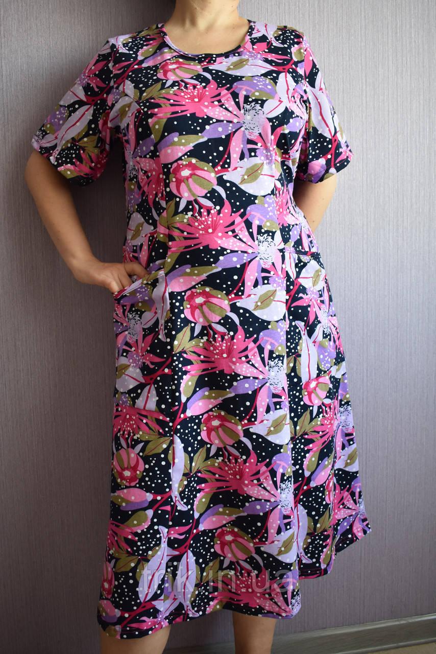 Платье домашнее женское рисунок сиреневые цветы