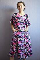 Платье домашнее женское рисунок сиреневые цветы, фото 3