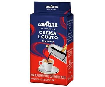 Кофе Lavazza Crema e gusto Classico молотый 250 г с кислинкой и послевкусием горького шоколада, для кофемашин,