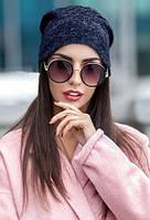 Женская шапка демисезон двойная синий меланж
