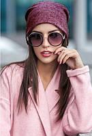 Модная женская шапка из ангоры бордовая меланж