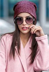 Модна жіноча шапка з ангори бордова меланж
