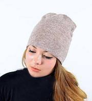 Розово-серая женская шапка демисезонная с подкладкой
