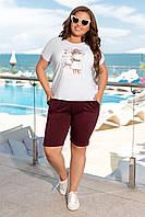 Стильний модний костюм двійка батал: шорти+футболка (р. 50-56). Арт-1266/76