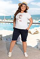 Стильний модний костюм двійка батал: шорти+футболка (р. 50-56). Арт-1266/76 темно-синій