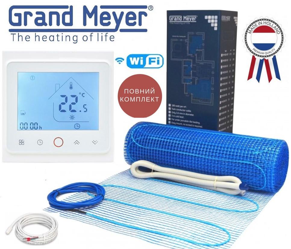 Нагревательный двужильный мат Grand Meyer 14м² /2520Вт THM180 с программируемым терморегулятором TWE02 Wi-Fi