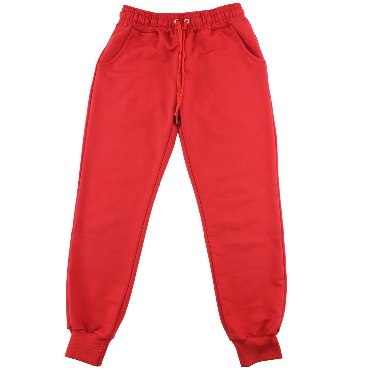 Штаны спортивные удобные однотонные красные для девочек