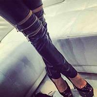 Модные облегающие женские брюки из экокожи