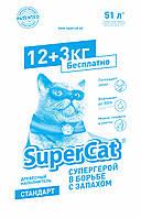 Наполнитель SuperCat Стандарт Эконом-упаковка древесный для котов 15 кг
