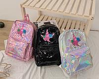Рюкзак голографический среднего размера с единорогом, фото 1