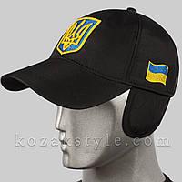 Тепла бейсболка з українською символікою (чорна)