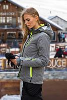 Куртка Freever женская серая с салатовым 7013