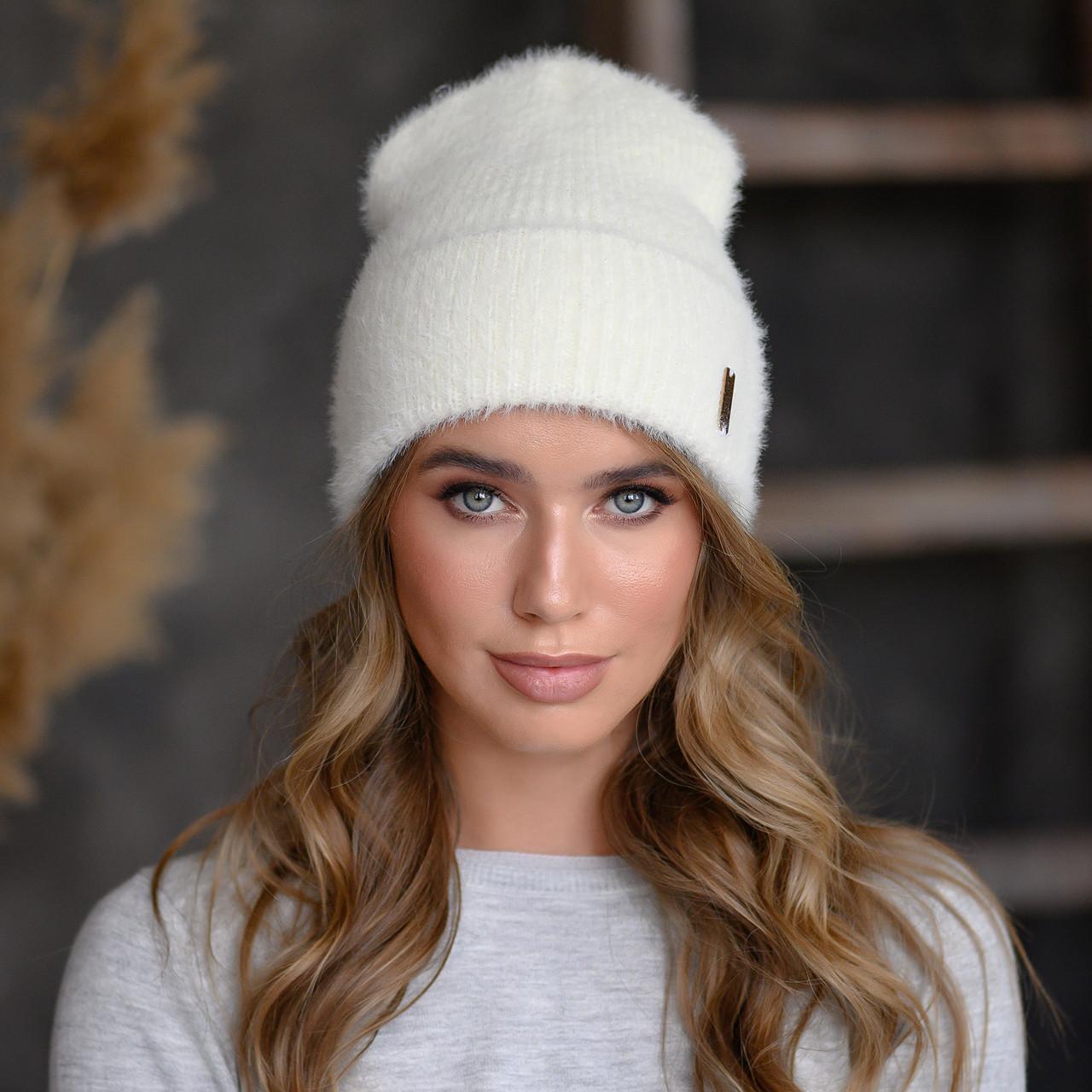 """Вязанная шапка """"Тереза"""" цвет белый"""