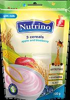 """Каша молочная с 3 злаков, яблок и черники 200г ТМ """"NUTRINO"""" с 6 месяцев."""