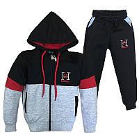 Костюм спортивный для мальчика 92-122 (2-7лет) 101 Серо- черный с бордо + капюшон