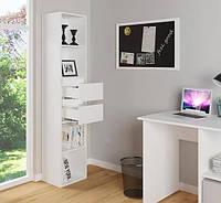 Полка для книг с выдвижными ящиками Forte Alice 1710x362x299 Белый