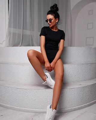 Женский боди с короткими рукавами черный