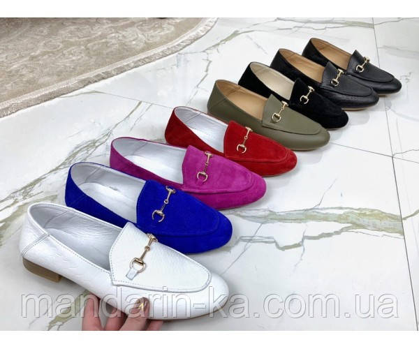 Туфли лоферы белый питон