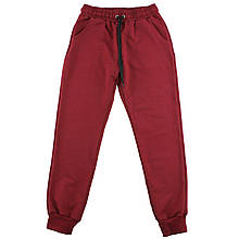 Молодежные бордовые спортивные штаны однотонные для девочек
