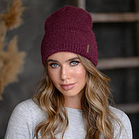 "Вязанная шапка ""Тереза"" цвет темная вишня"