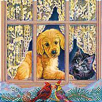 """Схема для вышивания бисером на художественном холсте """"У окна"""""""