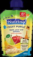 """Фруктовое пюре из яблок, груш, бананов и злаков 100 г в мягкой упаковке ТМ """"NUTRINO"""" с 6 месяцев."""