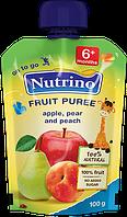"""Фруктовое пюре из яблок, груш и персиков 100 г в мягкой упаковке ТМ """"NUTRINO"""" с 6 месяцев."""