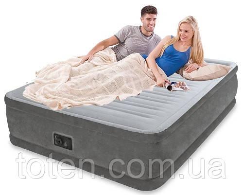 Надувная велюр-кровать Intex 64418 со встроенным электронасосом 220В, 203-152-56см Т