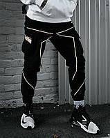 Брюки карго мужские Пушка Огонь Xeed черные с рефлективом, фото 1