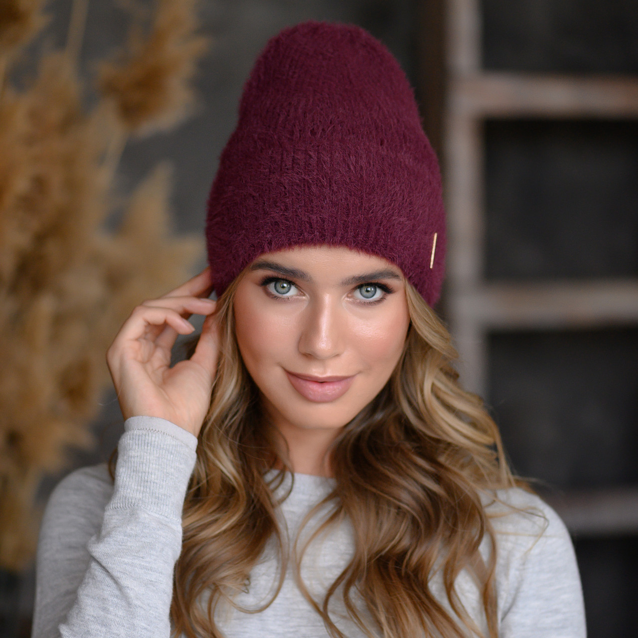 """В'язана шапка """"Миринда"""" колір темна вишня"""