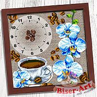"""Схема для вишивки """"Годинник для вишивки бісером """"Кава з орхідеями"""" (Biser Art 012)"""