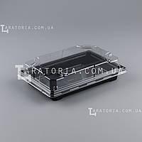 Контейнер для суши и роллов с крышкой УК-703-02, PET, черный, 356 шт/уп