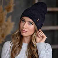 """В'язана шапка """"Миринда"""" колір чорний"""