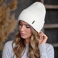 """В'язана шапка """"Олівія"""" колір білий-срібло"""