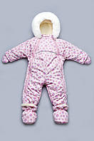"""Детский зимний комбинезон-трансформер на меху для девочки (розовые спиральки) ТМ """"Модный карапуз"""""""