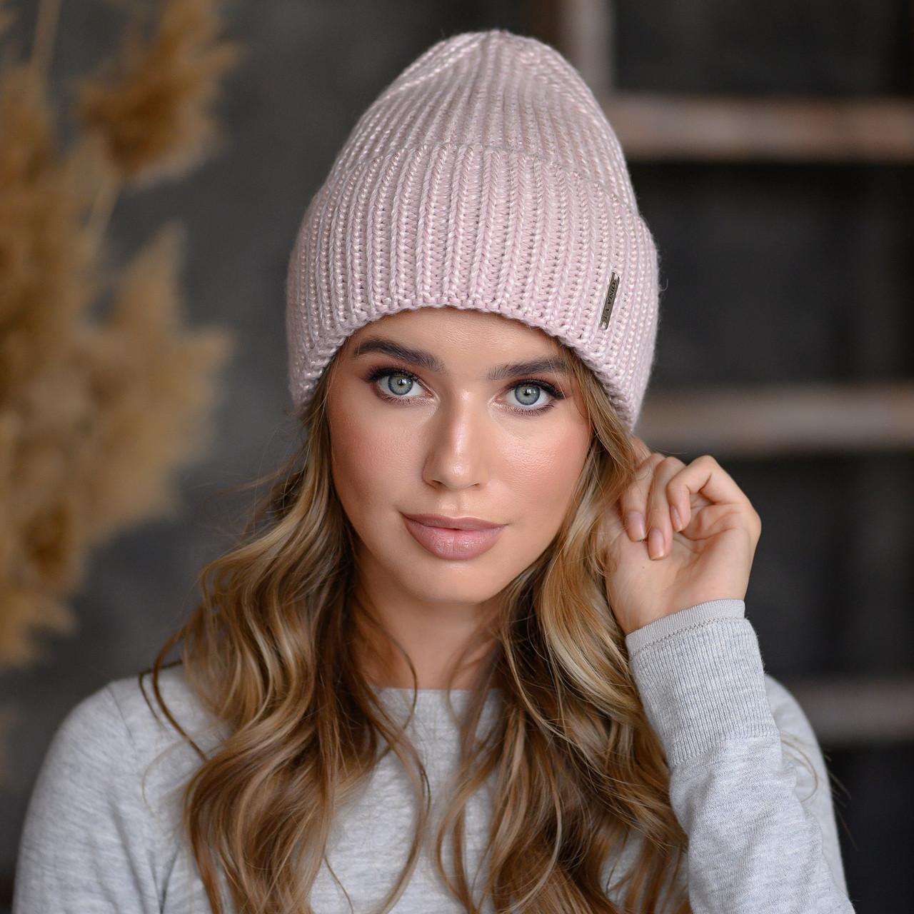"""В'язана шапка """"Олівія"""" колір пудра-рожевий"""