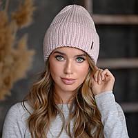 "Вязанная шапка ""Оливия"" цвет пудра-розовый"