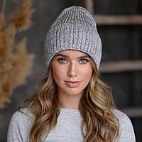 """Вязанная шапка """"Оливия"""" цвет серый-серебро"""