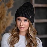 """В'язана шапка """"Олівія"""" колір чорний"""