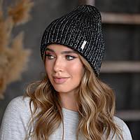 """В'язана шапка """"Олівія"""" колір чорний-срібло"""
