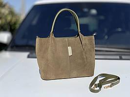 Большая замшевая женская сумка на плечо шоппер хаки натуральная замша+экокожа